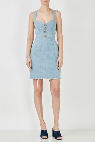 Denim Panelled Mini Dress