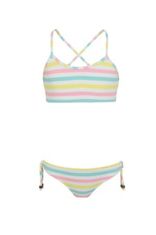 Girls Multi Stripe Cross Back Bikini