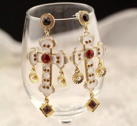 EuroAmerican Pop Baroque Style Red Gem Cross Earrings