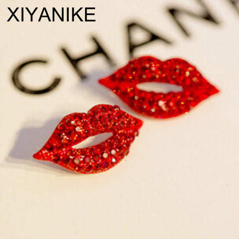 Kissed Red Lip Rhinestone Earrings