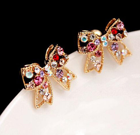 Vintage Inspired Colorful Rhinestone Bow Earrings