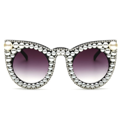 Oversized Women's Cat Eye Sunglasses with Pearls