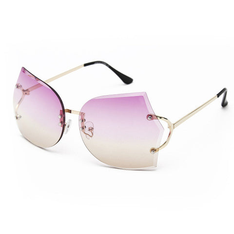 Unique Rimless Sunglasses with Ombre Lenses