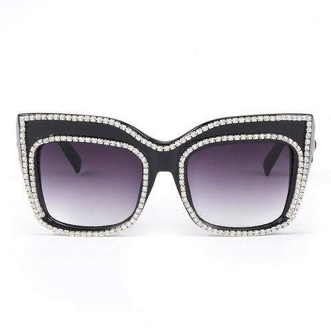 Oversized Women's Sunglasses with Rhinestone Rim