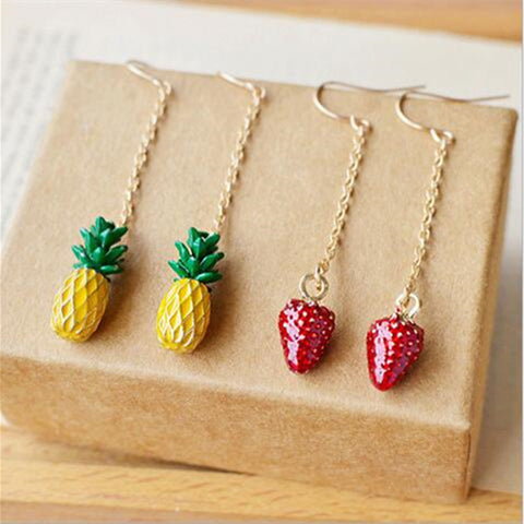 Three-dimensional Strawberry or Pineapple Drop Earrings