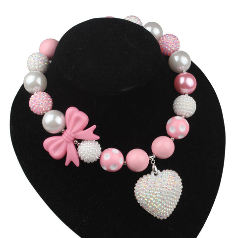 Love Crystal Heart Chunky Bubblegum Necklaces