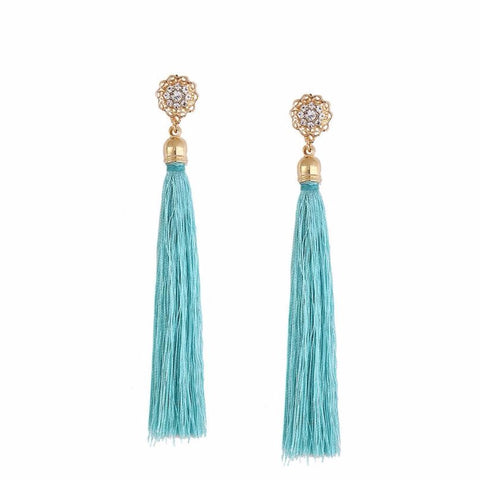 Bohemian Crystal Silk Tassel Fringe Earrings