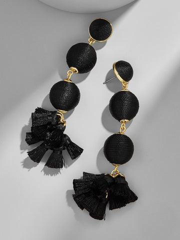 Black Bauble Tassell Drop Earrings