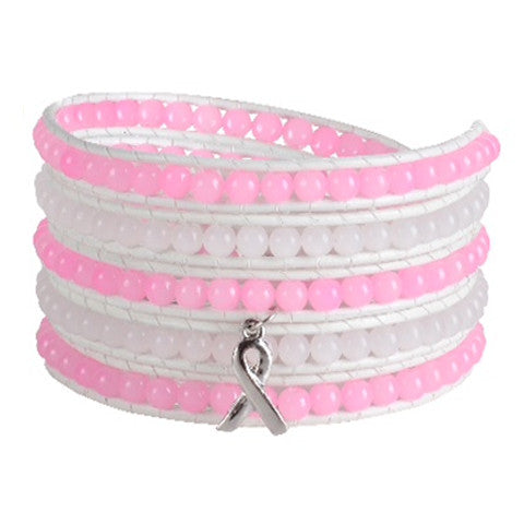 Pink Ribbon Wrap Bracelet