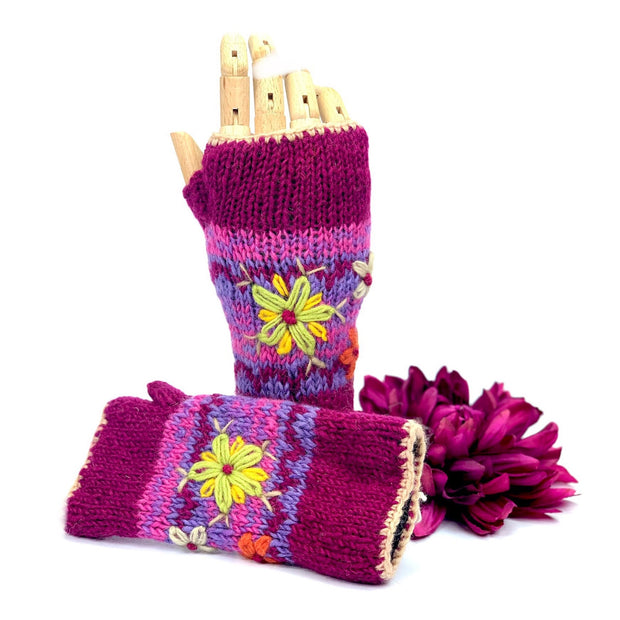 Embroidered Mittens, Wool Fingerless Gloves, Gifts for Her. Unique Gloves.