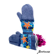 Embroidered Mittens, Wool Gloves, Gifts for Her. Unique Gloves.