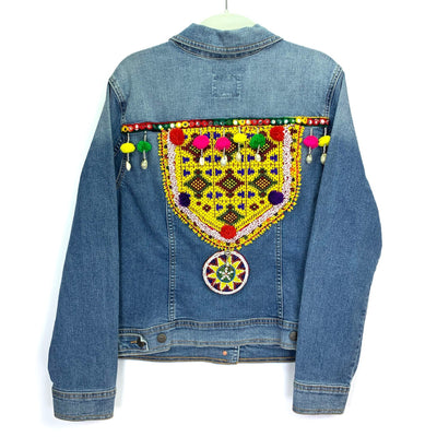 Denim Jacket for Her, Embellished Denim Jacket, Bohemian Denim Jacket.