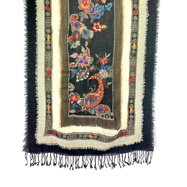 Embroidered Pashmina, Wool Shawl, Unique Scarves for Women. Wool Pashmina.