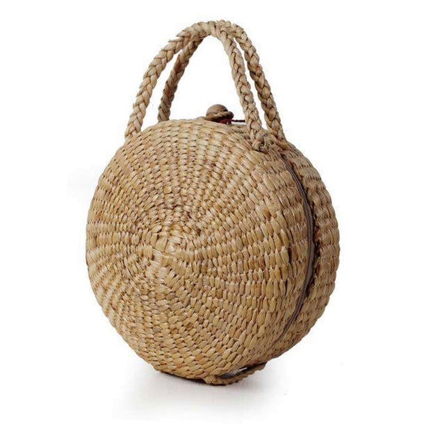 Round Straw bag-Top handle - Bootsologie