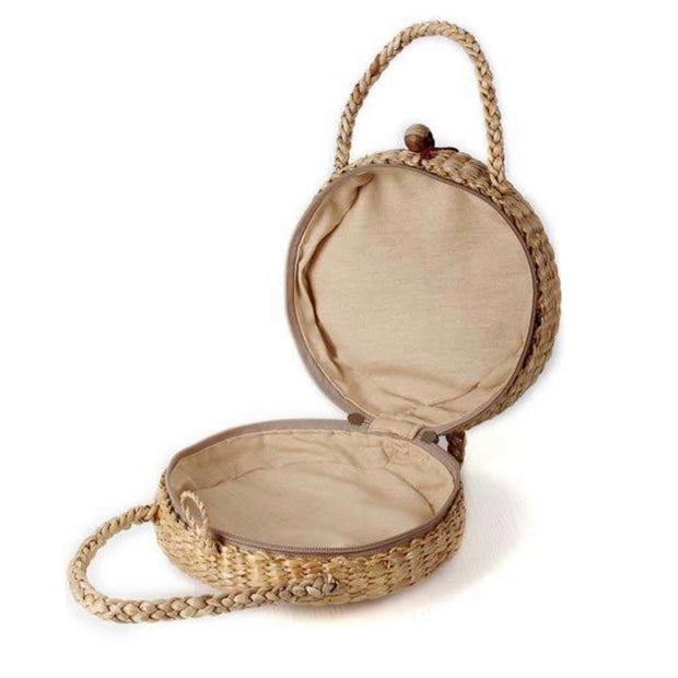 Round Straw bag-Top handle