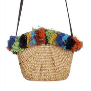 Straw handbag. Bootsologie Tassel bag. Wicker handbag. Rattan bag.
