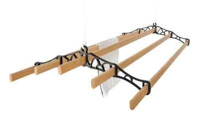 5 Lath Pulley Clothes Airer - Black