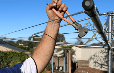 Restringing of old clothesline
