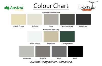 Austral Compact 39 Clothesline - Fold Down - Austral - Colour Chart - Lifestyle Clotheslines