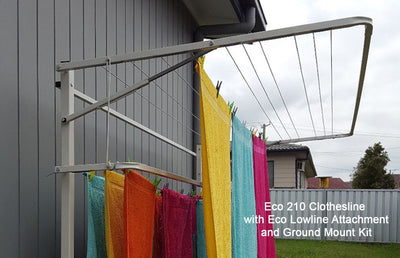 Eco 210 Clothesline wit Eco Lowline Attachment and Ground Mount Kit