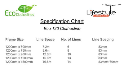 Eco 120 Clothesline - Specification Chart