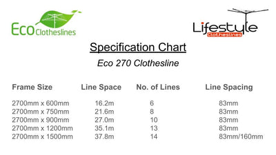 Eco 270 Clothesline - Specification Chart