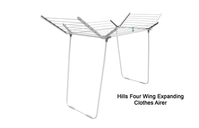Hills Four Wing Expanding Clothes Airer - Lifestyle Clothesline - Portable