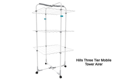 Hills Three Tier Mobile Tower Airer - Lifestyle Clothesline - Portable