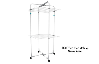 Hills Two Tier Mobile Tower Airer - Lifestyle Clothesline - Portable