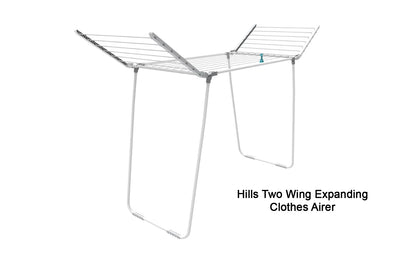 Hills Two Wing Expanding Clothes Airer - Lifestyle Clothesline - Portable