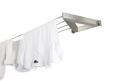 Evolution 316 Stainless Steel Clothesline - 4 Line Stainless Steel Right Side Perspective With Hanged Shirt