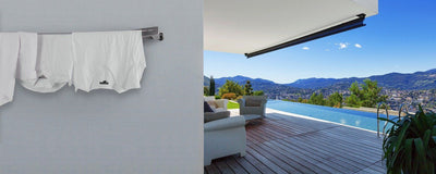 Evolution 316 Stainless Steel Clothesline - Installed With Hanged Shirts