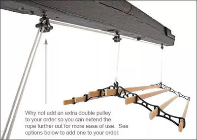 7 Lath Supreme Ceiling Airer - Double Pulley Black