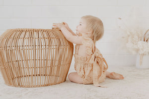 Broderie Anglaise Ruffle Romper- Hazelnut