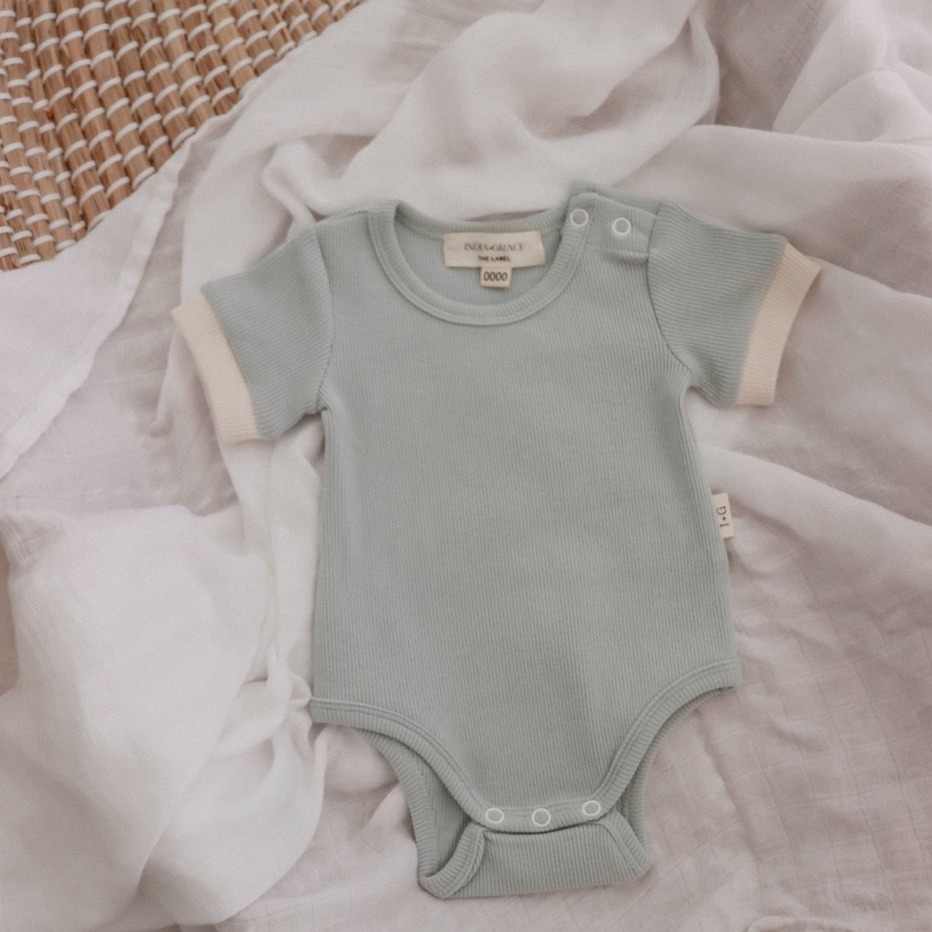 Ribbed Short Sleeve Onesie- Dusty Sage