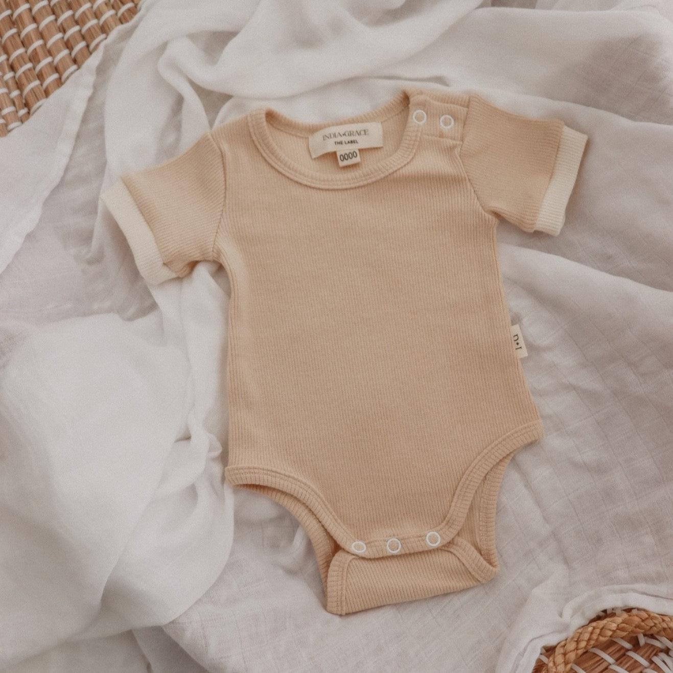 Ribbed Short Sleeve Onesie- Beige