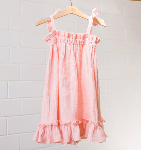 Sun Dress- Peachy Pink Gauze