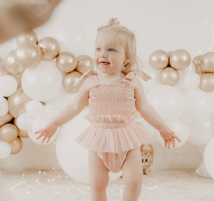 *Pre-order* Shirred Tutu Romper- Ivory and Dusty Pink