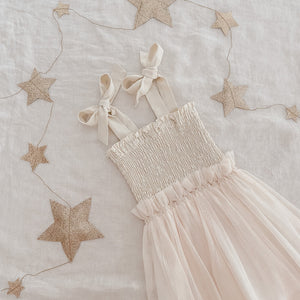 *Pre-order* Shirred Tutu Dress- Ivory and Dusty Pink