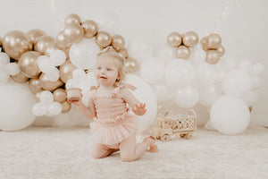 Shirred Tutu Romper- Ivory and Dusty Pink