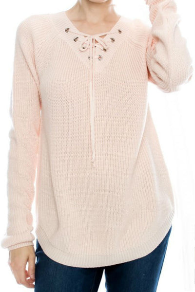 Blushing Lace-Up Sweater