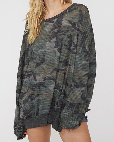 Comfy Camo Oversized Long Sleeve Thermal