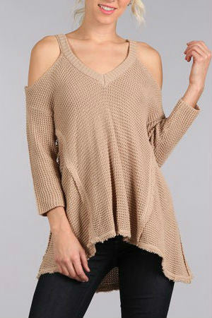 Coffee Date Cold-Shoulder Sweater