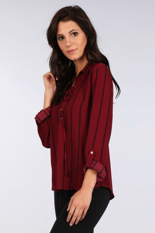 Cranberry Lace-Up Top
