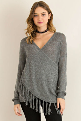 Falling For Fringe Wrap Sweater