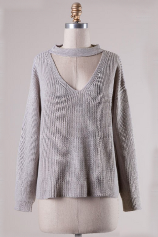 Grey Choker Sweater