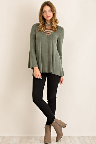 Olive You Lace-Up Top