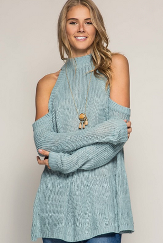 sky cold-shoulder sweater