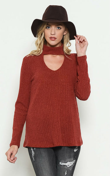 Rust Choker Ribbed Top
