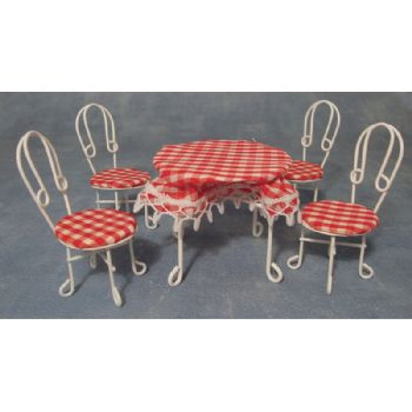 Red and White Table and Chair set